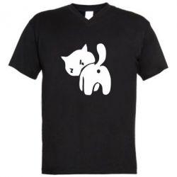 Чоловічі футболки з V-подібним вирізом злий коте - FatLine