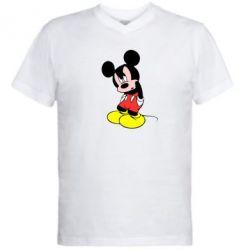 Мужская футболка  с V-образным вырезом Злой Микки Маус - FatLine