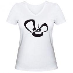 Женская футболка с V-образным вырезом Злой мишка - FatLine