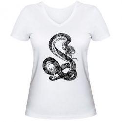 Женская футболка с V-образным вырезом Змей