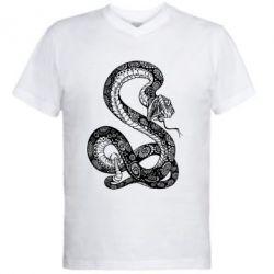 Мужская футболка  с V-образным вырезом Змей