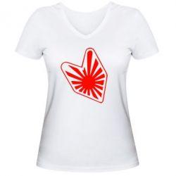 Женская футболка с V-образным вырезом Значек JDM - FatLine