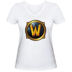 Женская футболка с V-образным вырезом Значок wow - FatLine