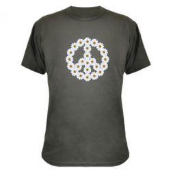 Камуфляжная футболка Знак мира из ромашек - FatLine