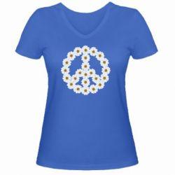 Женская футболка с V-образным вырезом Знак мира из ромашек - FatLine