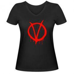 Женская футболка с V-образным вырезом Знак Вендетты - FatLine