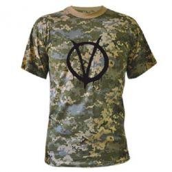 Камуфляжная футболка Знак Вендетты - FatLine