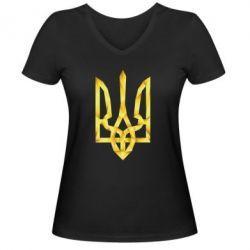 Женская футболка с V-образным вырезом Золотий герб - FatLine