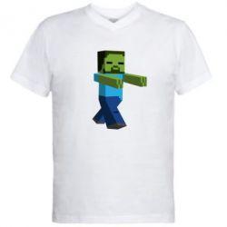 Мужская футболка  с V-образным вырезом Зомби Minecraft - FatLine