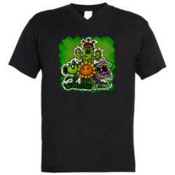 Мужская футболка  с V-образным вырезом Zombie vs Plants players