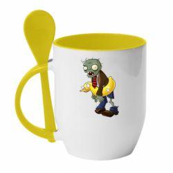 Кружка з керамічною ложкою Zombie with a duck