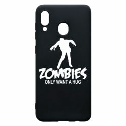Чехол для Samsung A20 Zombies only want a hug