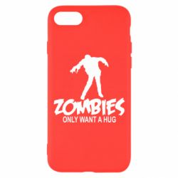 Чехол для iPhone 8 Zombies only want a hug