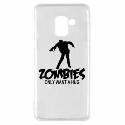 Чехол для Samsung A8 2018 Zombies only want a hug