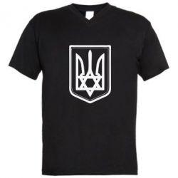 Мужская футболка  с V-образным вырезом Звезда Давида+герб - FatLine