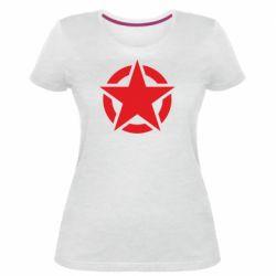 Жіноча стрейчева футболка Зірка Капітана Америки