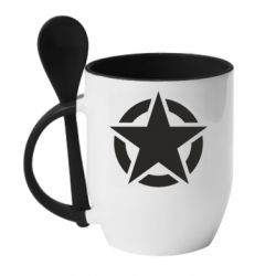 Кружка з керамічною ложкою Зірка Капітана Америки
