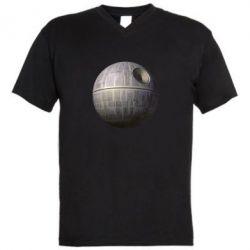 Мужская футболка  с V-образным вырезом Звезда смерти - FatLine